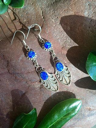Fire Azul Opal Earrings