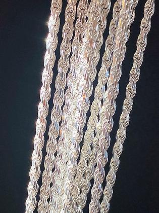 Italian Silver Diamond Cut Rope