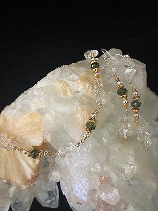 Moldavite & Herkimer Diamond Set