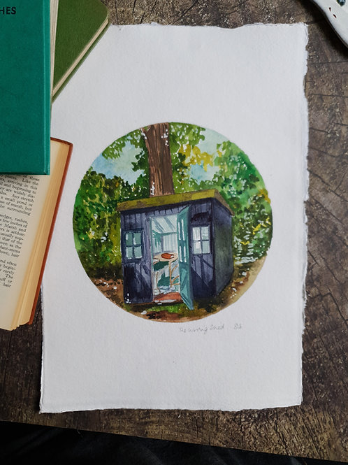 Book Lovers - The Writing Shed - Original  A4 Watercolour
