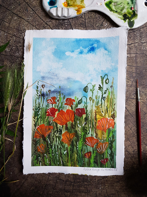 A walk through the Meadow - A4 Original watercolour