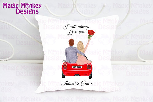 Personalised Couple on car Cushion