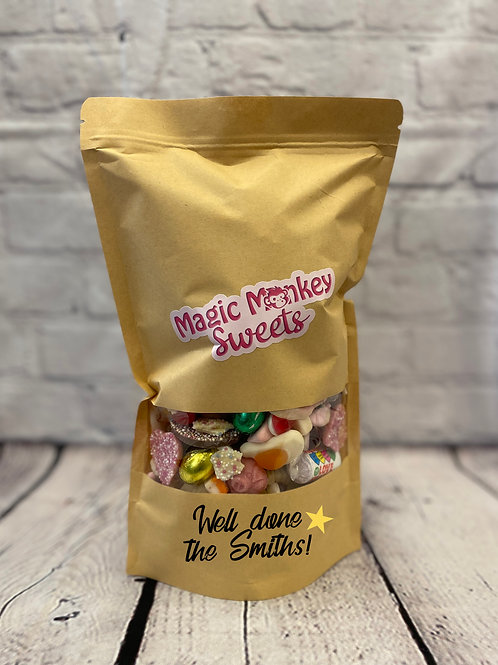 Personalised  celebration Pic n Mix pouch 1kg