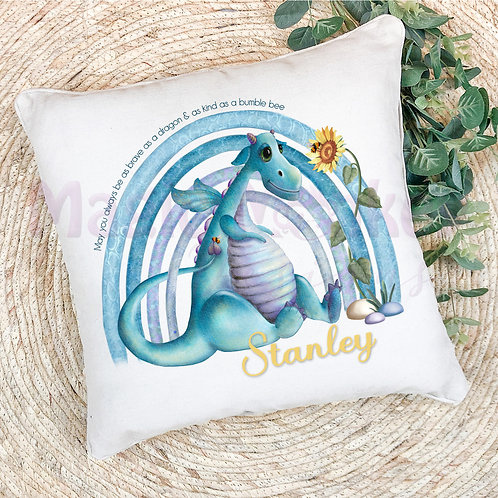 Blue Rainbow Dragon Cushion