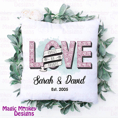 Love knows no bounds Personalised Cushion