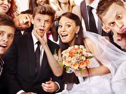 Fun photo booth wedding bride groom