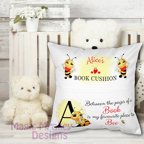 Personalised Bee Book Cushion
