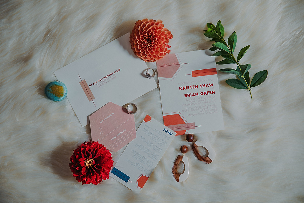 mid century modern wedding invitations in downtown Milwaukee Wisconsin
