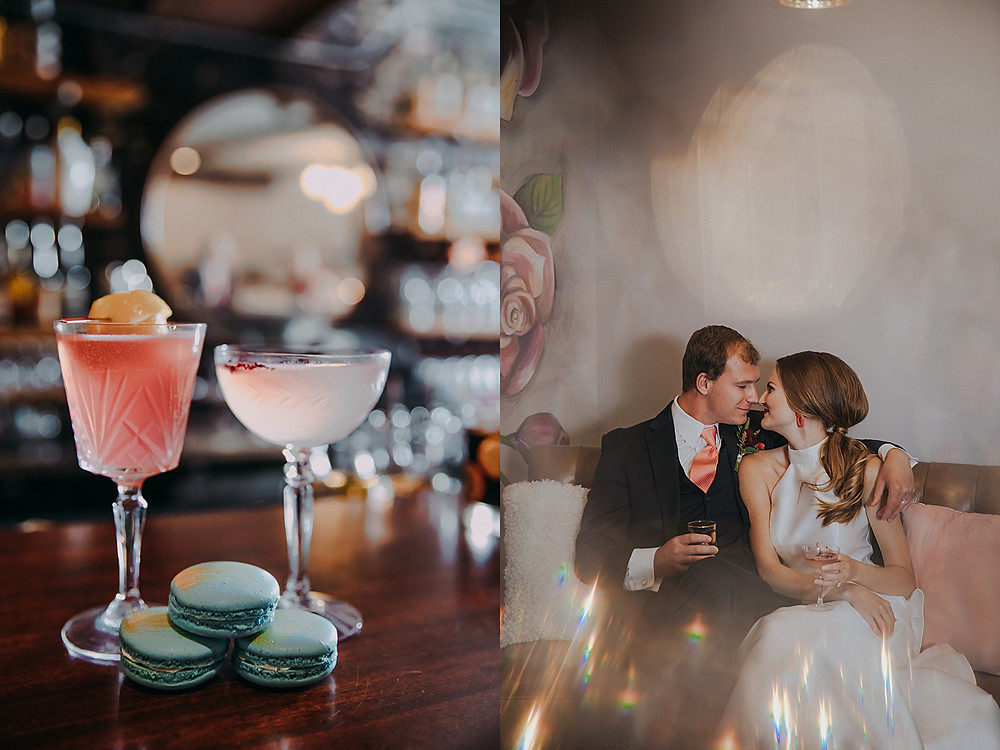 pink signature cocktails for mid century modern bride and groom