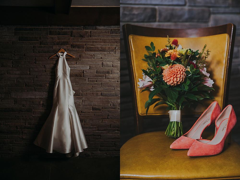 mid century modern wedding details in a Wisconsin wedding