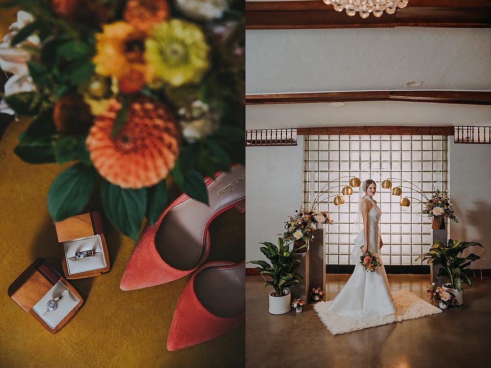 mid century modern ceremony altar in a Milwaukee Wisconsin wedding