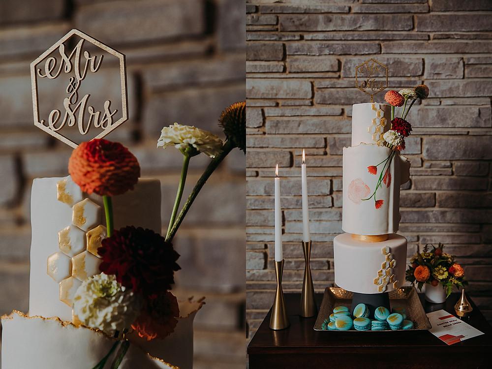 mid century modern wedding cake