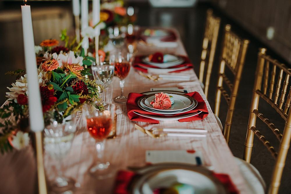 mid century modern wedding reception details in Milwaukee, Wisconsin