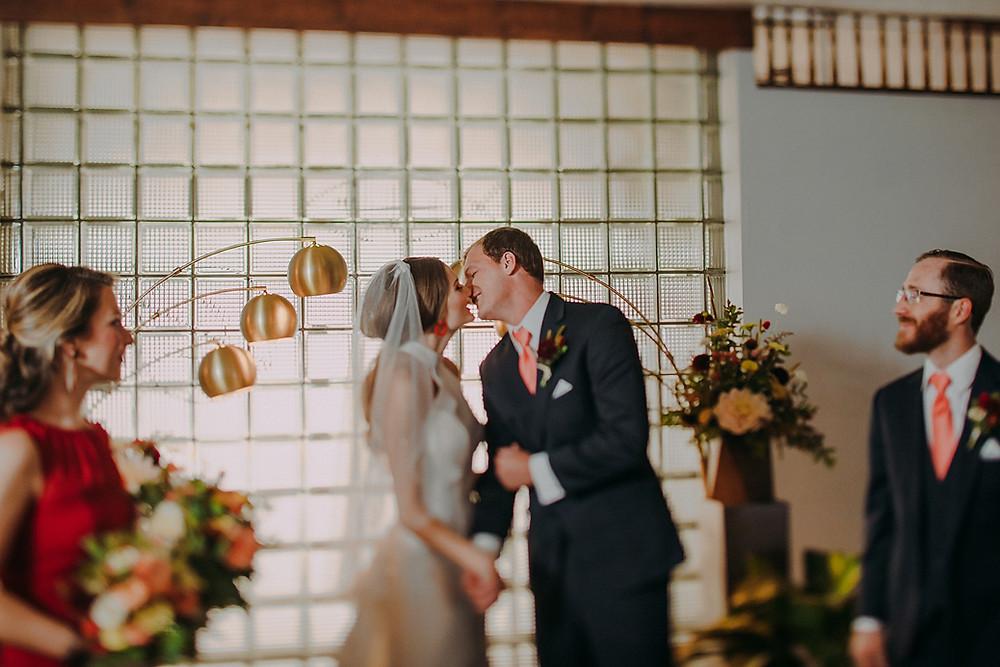 Ultimate Mid-Century Modern Wedding indoor ceremony in Milwaukee Wisconsin