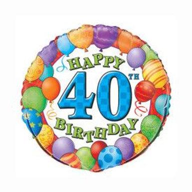 "Balloon Foil 18"" 40Th Happy Birthday"