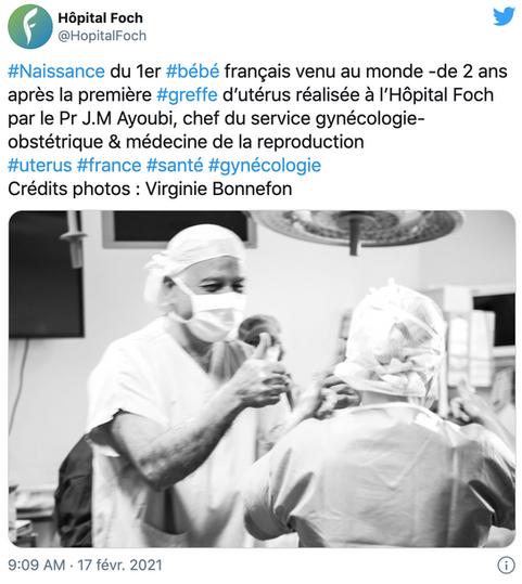 Voici le 1er bébé né d'une greffe d'utérus en France