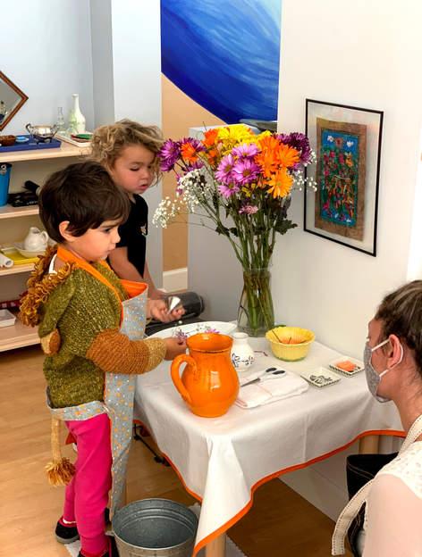 Flower arranging lesson