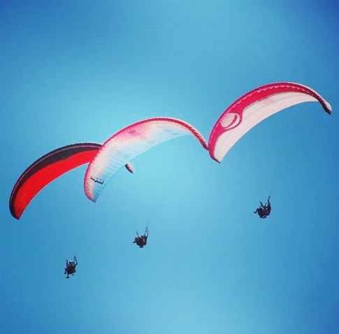 Tandem paragliding with friends