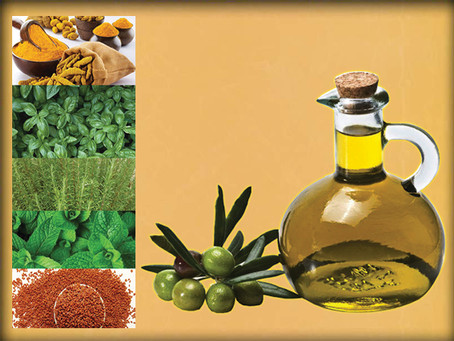 Back pain treatment with herbs and oil