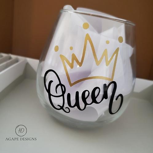 Queen Stemless Wine Glass