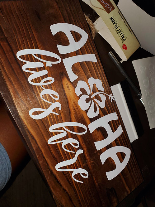 Aloha Lives Here Wooden Sign |Barn Wood Pallet Plank | White Wash Pallet Plank |