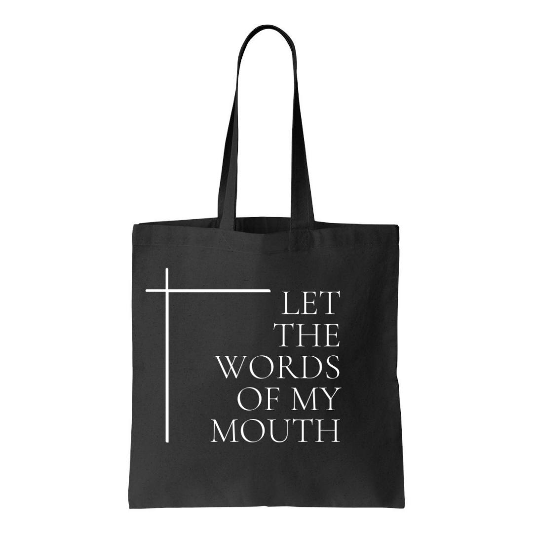 letthewordsofmymouth-black-tote-bag-logo