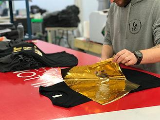 Foil transfer on t-shirt