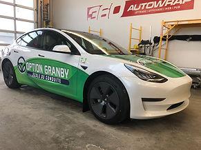 Lettrage Wrap sur Tesla