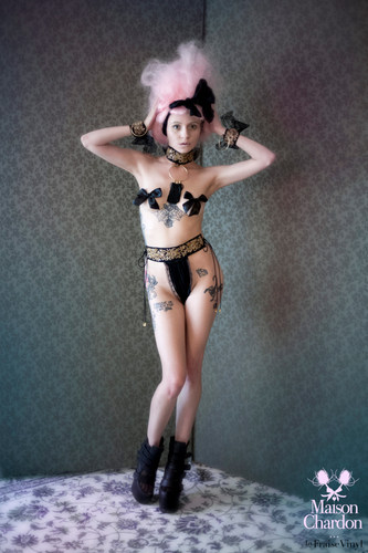Marquise Fundoshi panty, Marquise neck piece, & Marquise handcuffs