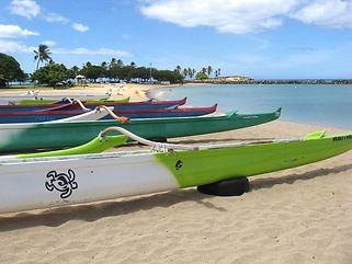 Canoes at Poka'i Bay.
