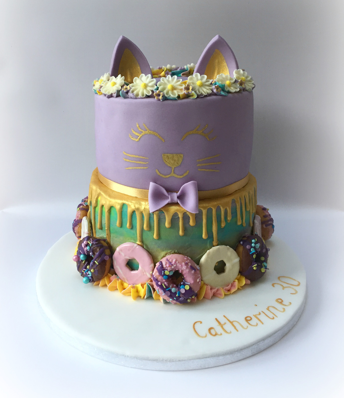 Whimsical Cat Themed Birthday Cake