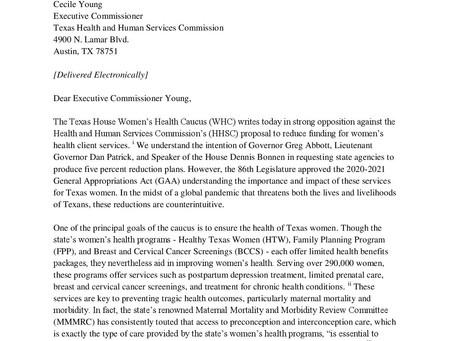 Opposing $3.8 million in women's health cuts