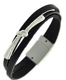 Leather silver braclet