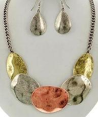 Copper silver gold necklace