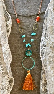 Handmade metal bead tassel necklace