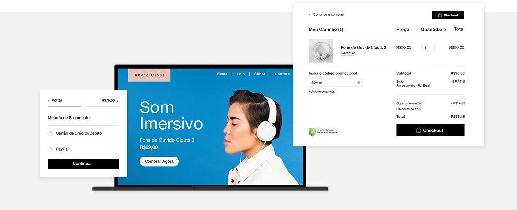 Vitrine da empresa de eCommerce de equipamentos de áudio, menu de opções de pagamento, carrinho e checkout.