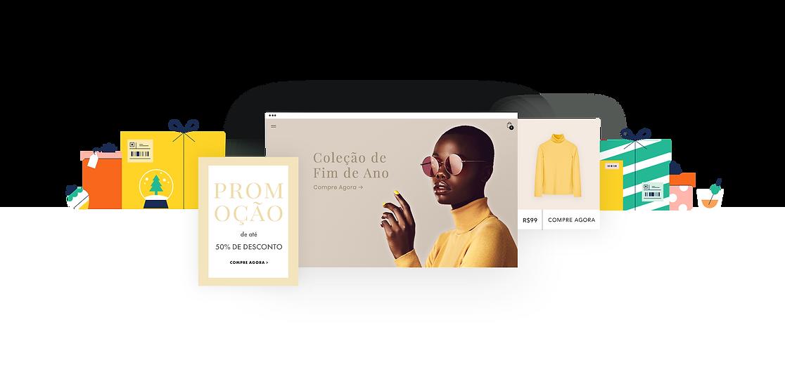 Página inicial de loja virtual preparada para a temporada de fim de ano 2020 exibindo uma blusa amarela como produto.