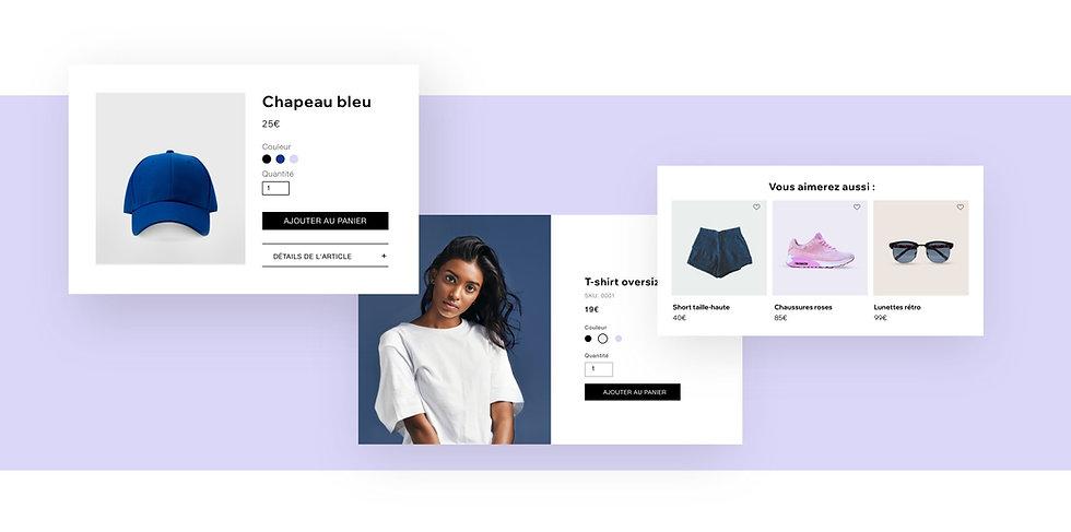 Boutique de vêtements en ligne, page d'article avec articles suggérés