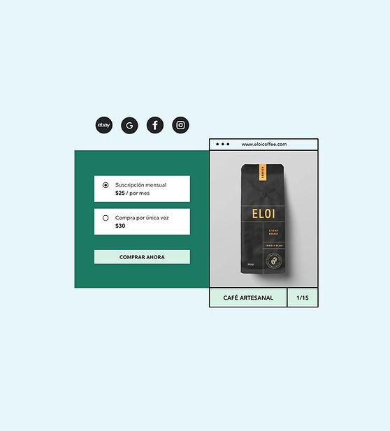 Tienda online de venta de café con suscripciones mensuales y compras por única vez con la imagen del producto.