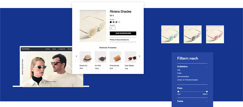 Storefront eines Onlineshops für Accessoires mit Produktangebot und Filtermöglichkeit nach Kategorie.