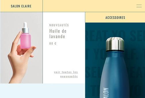 Site web de salon de beauté qui vend des bouteilles d'eau avec son logo à l'aide de la solution print on demand
