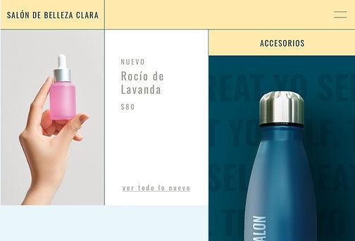 Una página web de un salón de belleza que vende botellas de agua de print on demand con su logo.