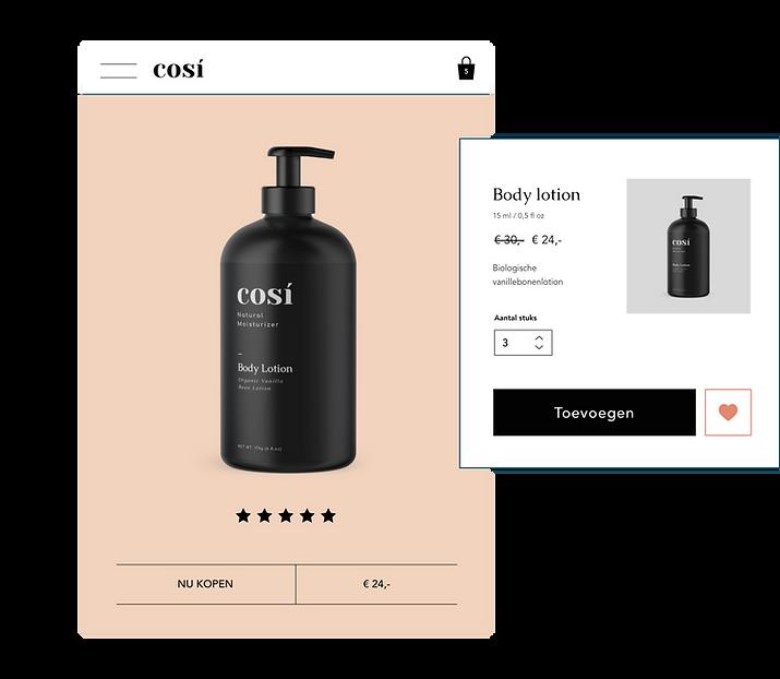 Bodylotion te koop op een website, met een 'Toevoegen aan winkelwagen' knop.