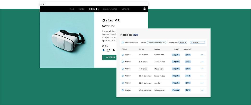 Negocio de eCommerce para equipamiento de tecnología con página de productos de auriculares virtuales y tabla de transacciones en línea.