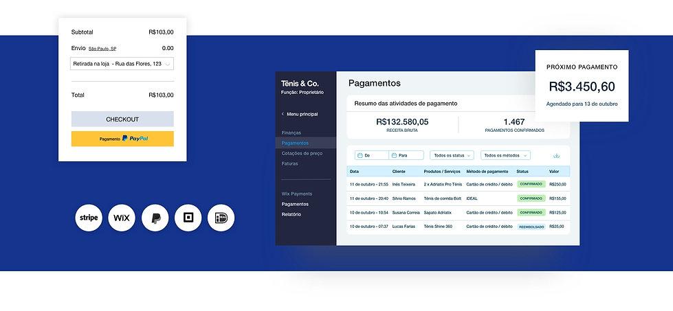 Visão geral de pagamentos para uma loja online Wix com checkout, tabela de transações e saldo de pagamentos