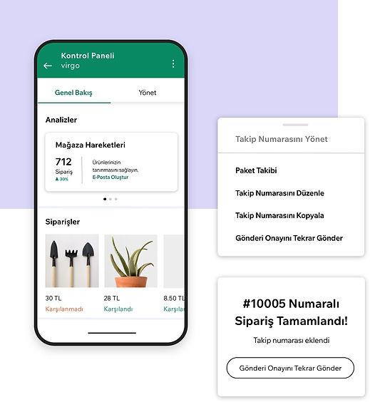 Analitik gösterge panosu ve takip numaraları ile Wix Mobil Uygulamasından bir işletme yönetimi