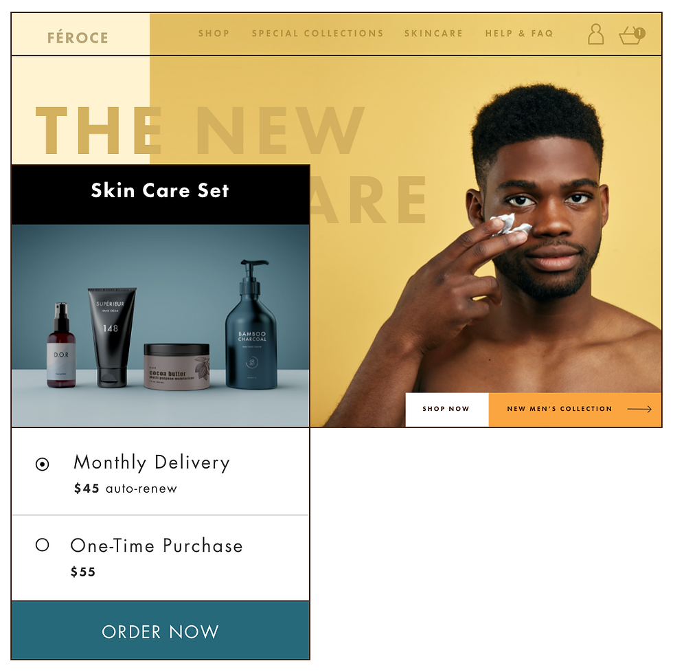 An online store selling men's skin care products with the option to order monthly product subscriptions.