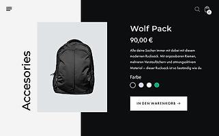 Online-Shop Produktseite für einen schwarzen, sportlichen Rucksack.