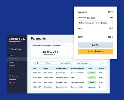 Résumé des paiements pour une boutique en ligne Wix avec page de paiement, tableau de transactions et solde du virement