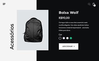 Página de produto da loja virtual para uma mochila esportiva preta.